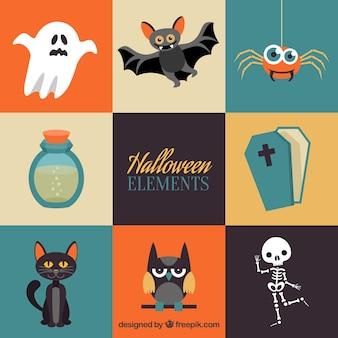 Bunte Vielzahl von flachen Halloween-Elemente