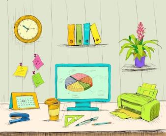 Business Arbeitsplatz Büro Innenraum Schreibtisch