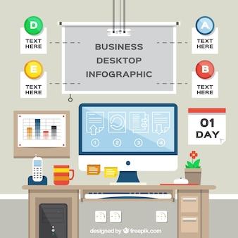 Business-Arbeitsplatz in flaches Design