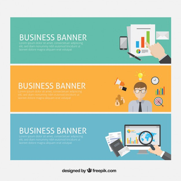 Business-Banner mit Firmen Elemente in flaches Design