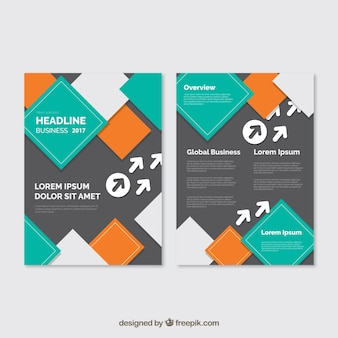 Business Broschüre mit farbigen Quadraten