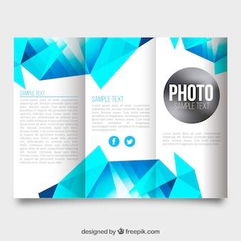 Business-Broschüre mit geometrischen Formen in Blautönen