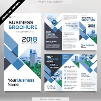 Business Broschüre Vorlage in Tri Fold Layout. Corporate Design Leaflet mit ersetzbarem Bild.