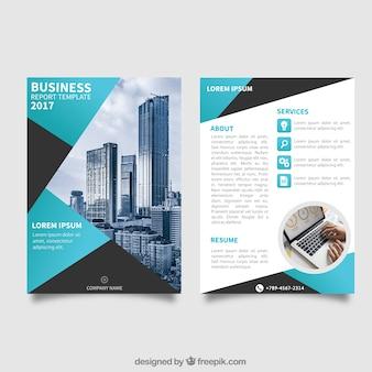 Business Broschüre Vorlage mit blauen Elementen