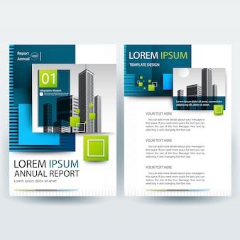 Business Broschüre Vorlage mit blauen und grünen geometrischen Formen