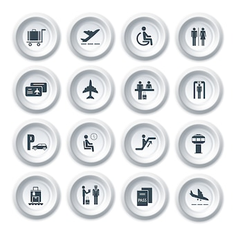Business-Flughafen-Reise-Taste Icons Set mit Flugzeug Sicherheitskontrolle Gepäck-Steuerung isoliert Vektor-Illustration
