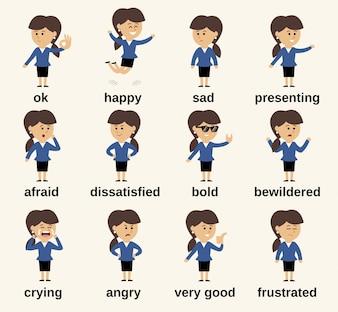 Business-Frau Cartoon-Figur glücklich und traurig Emotionen gesetzt isoliert Vektor-Illustration