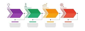 Business-Konzept Zeitleiste Pfeile mit 4 Stufen.
