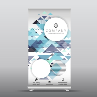 Business Roll-up Banner mit geometrischen Design