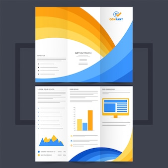 Business Trifold Broschüre oder Flyer Design mit gelben und blauen Wellen.