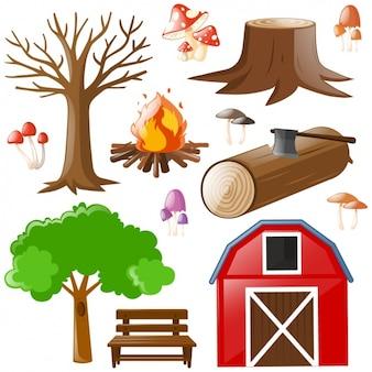Camping-Elemente-Sammlung