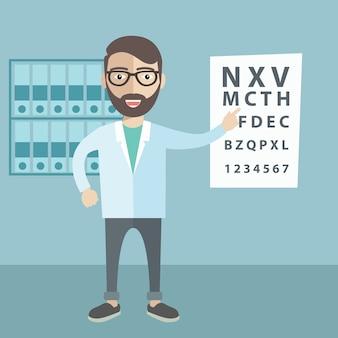 Cartoon-Illustration eines Optikers zeigt auf Augen-Test