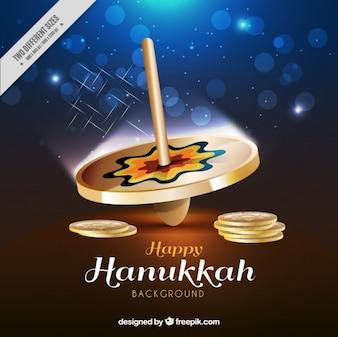 Chanukka-Hintergrund mit Kreisel in realistischen Stil