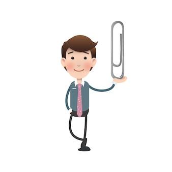 Charakter mit großer Büroklammer