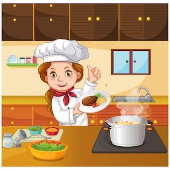 Chef in der Küche kochen