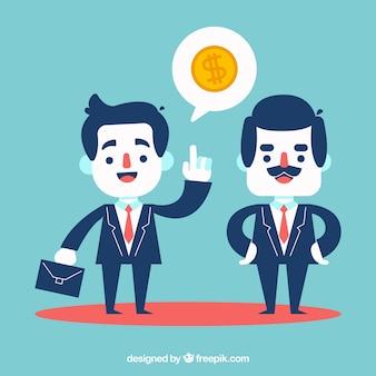 Chef und Geschäftsmann sprechen über Geld