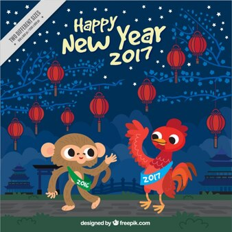 Chinesisches Neujahr Hintergrund mit Affe und Hahn