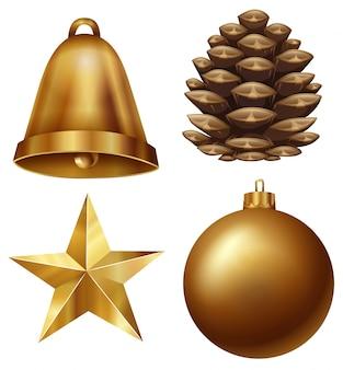 Chirstmas Ornament mit Tannenzapfen und Ball gesetzt