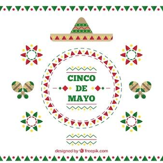 Cinco de Mayo Hintergrund mit flachen dekorativen Gegenständen