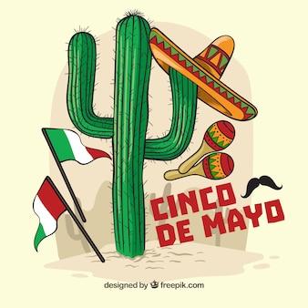 Cinco de Mayo Hintergrund mit Kaktus und mexikanischen Elementen
