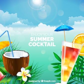 Cocktail-Hintergrund im realistischen Stil