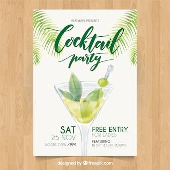 Cocktailparty Aquarell Broschüre