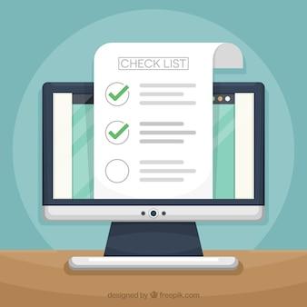 Computer-Hintergrund mit Checkliste