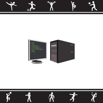 Computer und Monitor. Vektor-Illustration