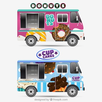 Cooles Paket von realistischen Food Trucks