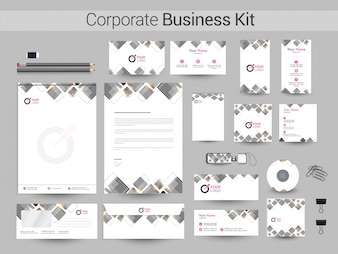 Corporate Business Kit mit grauen Quadraten.