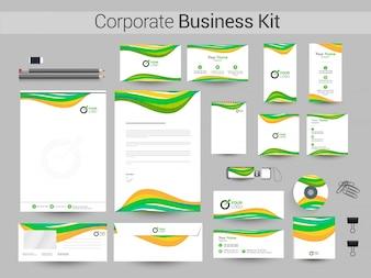 Corporate Identity Kit mit grünen und gelben Wellen.