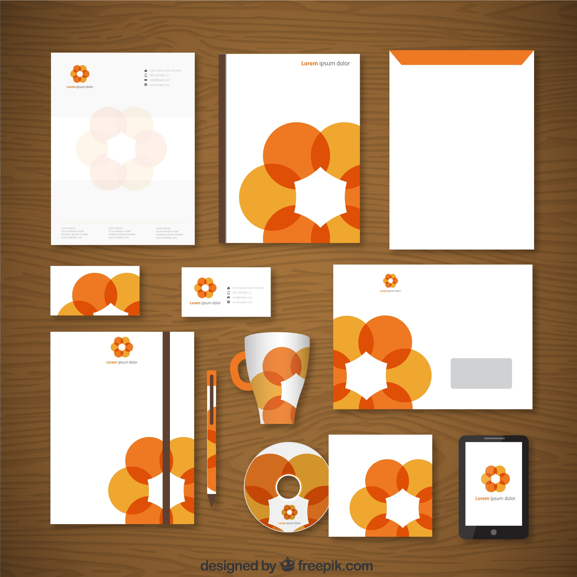 Corporate Identity mit orange Blume