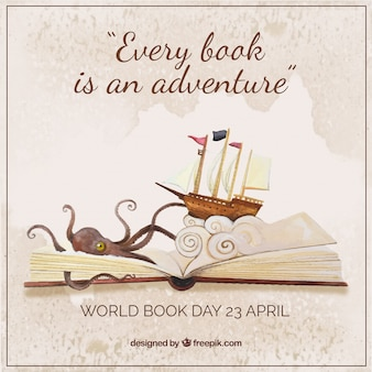 Creative Hintergrund von Schiff und Krake aus einem Buch kommen