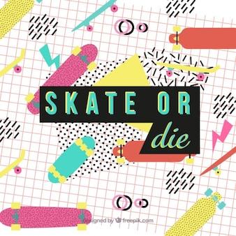 Creative-Satz von skate auf einem memphis Hintergrund