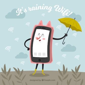Cute wifi Hintergrund des Mobiltelefons mit Regenschirm