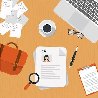 CV Papiere auf dem Schreibtisch