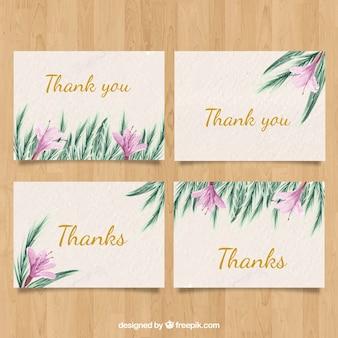 Danke Kartenpaket mit Aquarellblumen