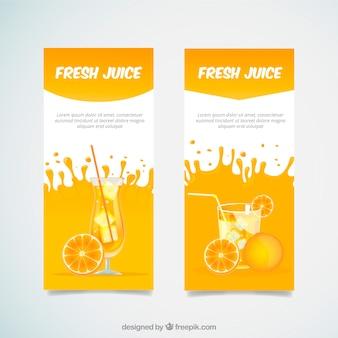 Dekorative Banner mit Orangensaftgetränken