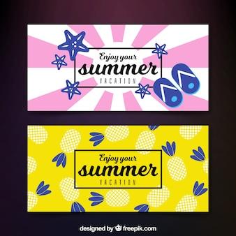 Dekorative Banner mit Sommerelementen in flachem Design