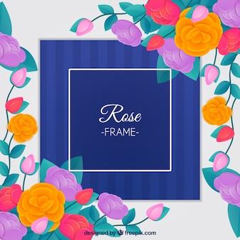 Dekorative gerahmt mit farbigen Rosen