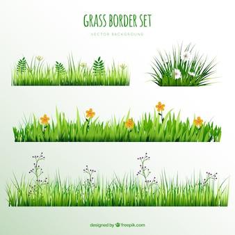 Dekorative Gras Grenzen mit hübschen Blumen