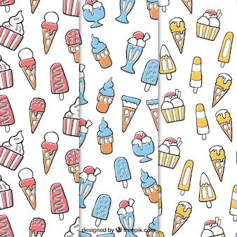 Dekorative Muster von handgezeichneten Eis