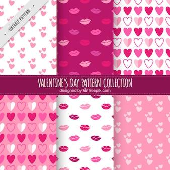 Dekorative Muster von Küssen und Herzen