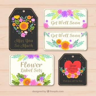 Dekorative Pack von Tags und Aufkleber mit farbigen Blumen