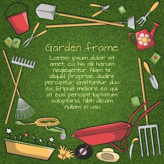 Dekorative Rahmen von Garten Zubehör Instrumente und Werkzeuge auf grünem Hintergrund Vektor-Illustration