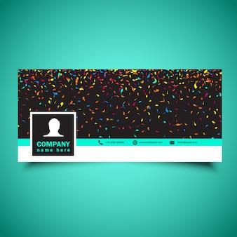 Dekorative Social Media Zeitleiste Abdeckung mit Konfetti Design