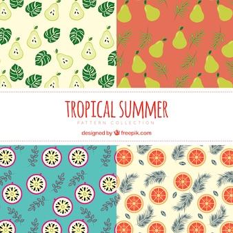 Dekorative Sommermuster mit Früchten