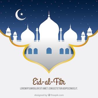 Dekorativer Hintergrund mit einer weißen Moschee