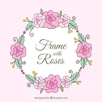 Dekorativer Rahmen mit handgezeichneten Rosen