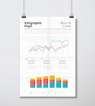 Detail Infografik Business Flyer mit Linie und Balken Grafik Vektor